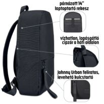 """""""MILO"""" újrahasznosított hátizsák, fekete, Johnny Urban"""