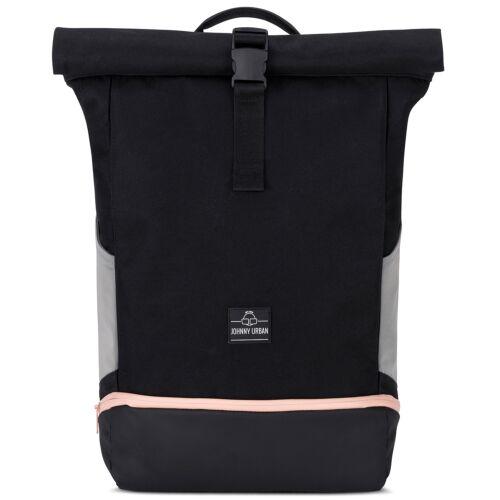 """""""ALLEN"""" újrahasznosított nagyméretű rolltop hátizsák, fekete, alul rózsaszín cipzárral, Johnny Urban"""