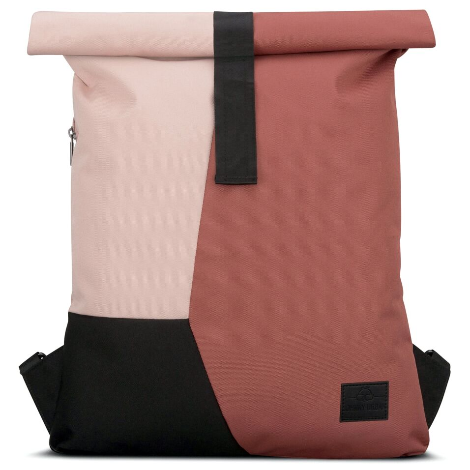 """""""OSKAR"""" újrahasznosított rolltop hátizsák, téglavörös-púder rózsaszín-fekete, Johnny Urban"""