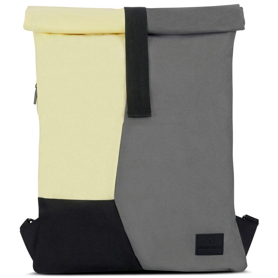 """""""OSKAR"""" újrahasznosított rolltop hátizsák, szürke-sárga-fekete, Johnny Urban ÉRTÉKCSÖKKENTETT"""