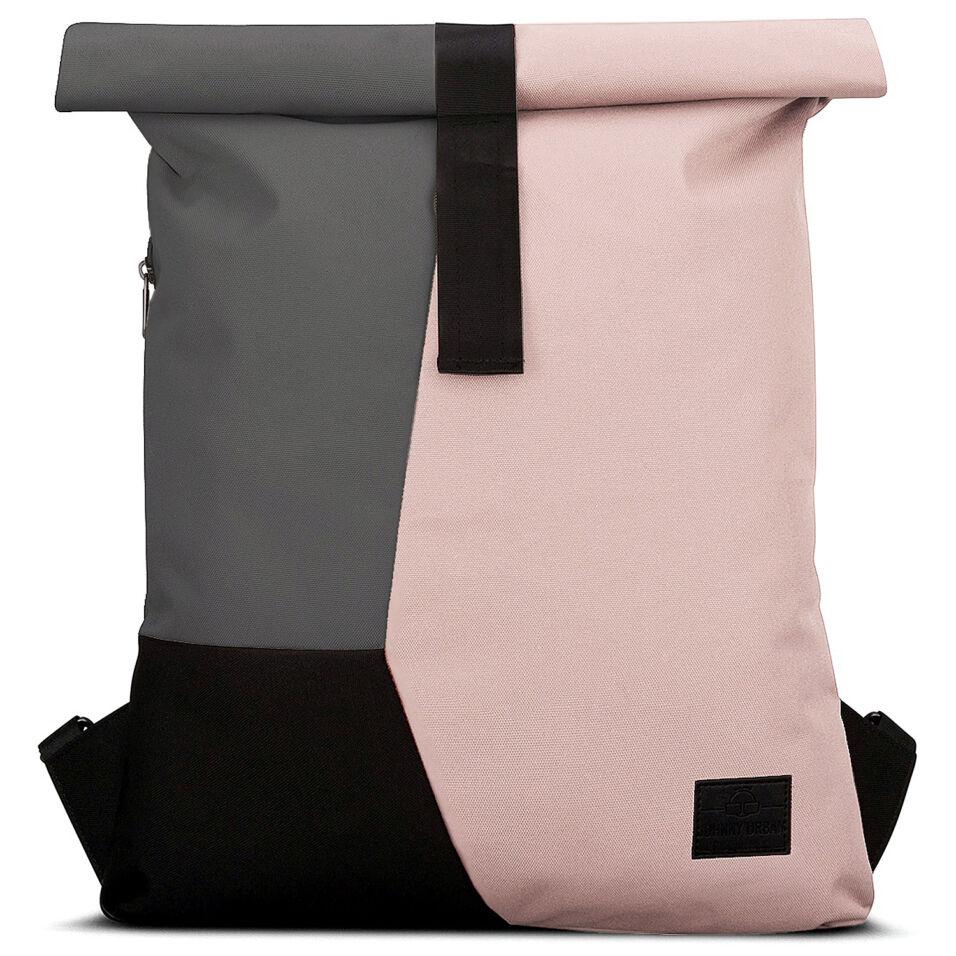 """""""OSKAR"""" újrahasznosított rolltop hátizsák, púder rózsaszín-szürke-fekete, Johnny Urban"""
