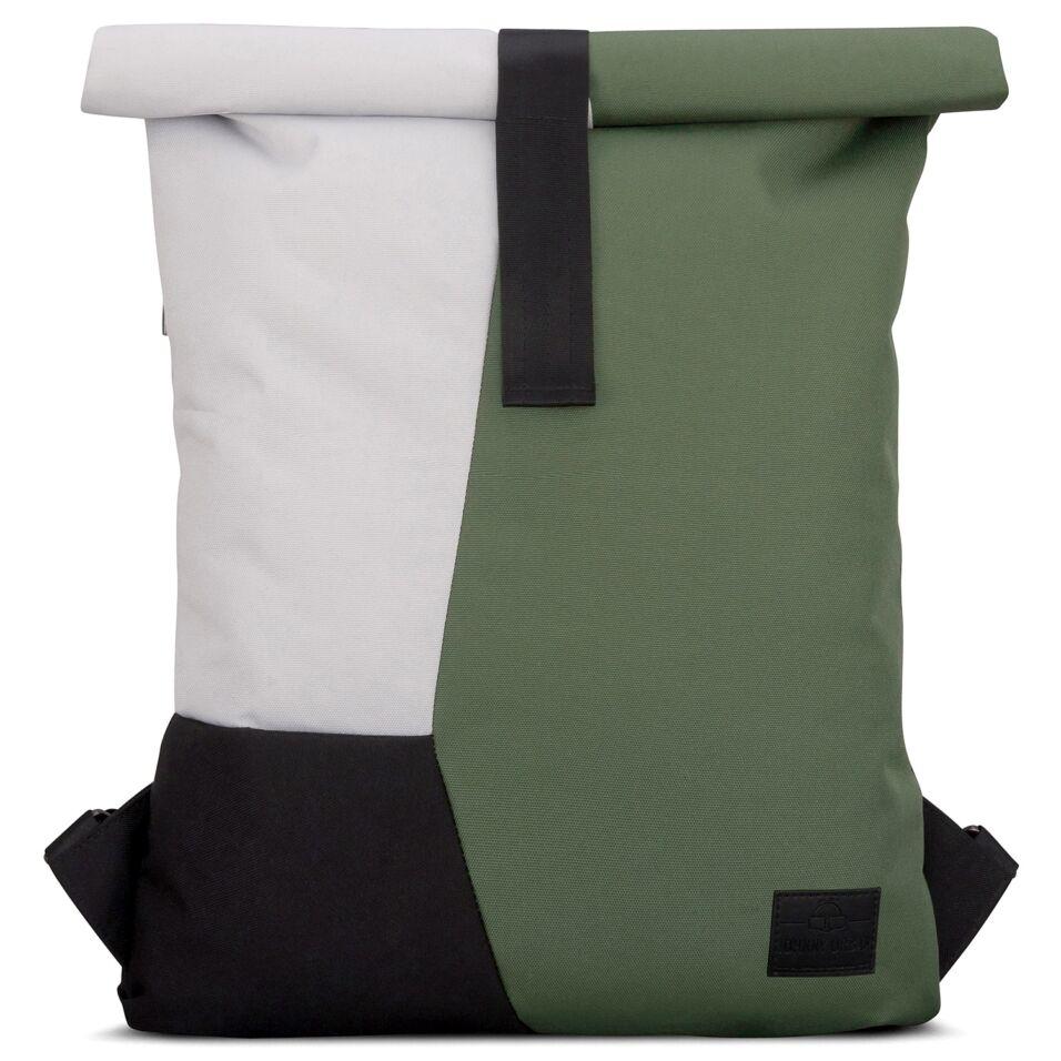 """""""OSKAR"""" újrahasznosított rolltop hátizsák, zöld-szürke-fekete, Johnny Urban"""