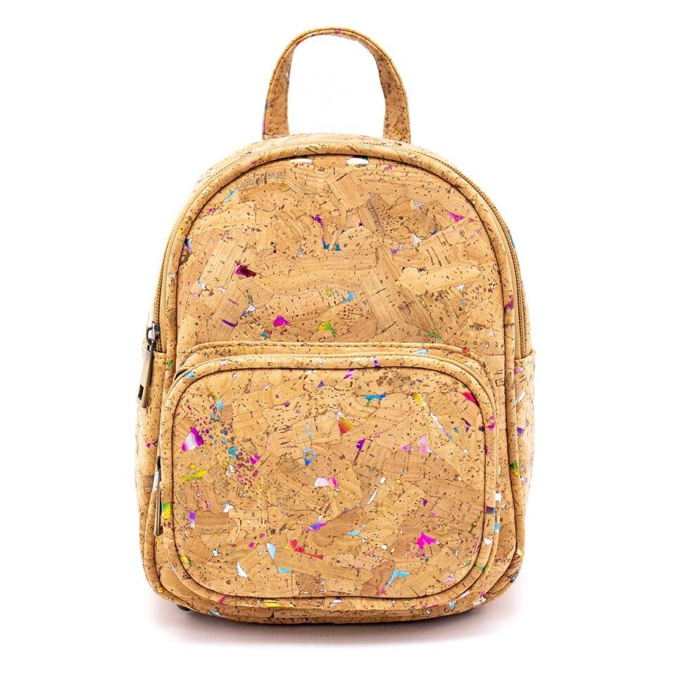 """""""Liliana"""" parafa hátizsák, szivárványos konfetti mintázat natúr parafa alapon"""